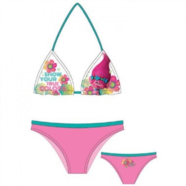 Trolls bikini - maat 134-140 - 10 jaar - roze-wit-groen
