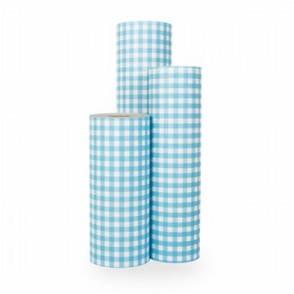 Cadeaupapier Blauw Ruit - Rol 50cm - 250m - 70gr