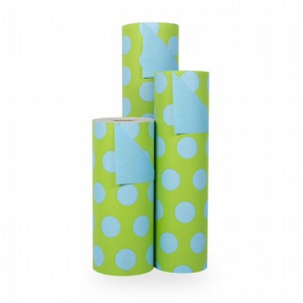 Cadeaupapier Blauwe Stippen op Groen - Rol 30cm - 200m - 70gr