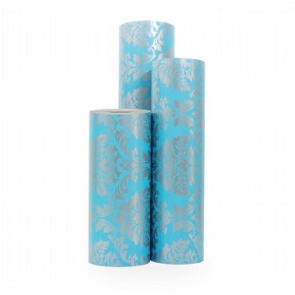 Cadeaupapier Blauw Barok op Zilver - Rol 30cm - 200m - 70gr
