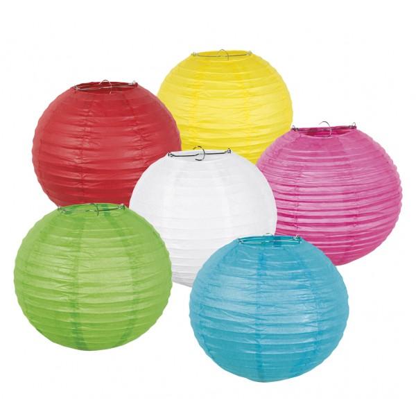 Papieren lampion in 6 kleuren - assorti met draadstalen frame -