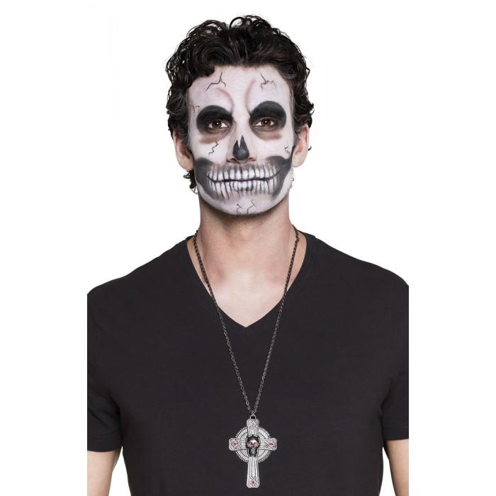 Halloween Kruis.Ketting Schedel Cross Kruis Halloween